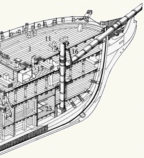 Bow of HMS Themis (Illustration by John McKay)